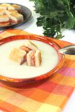 Fresh Cream of celery soup with salmon croutons Stock Photography