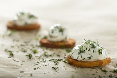 Fresh cream cheese spread. With dill on bake rolls Stock Images