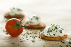 Fresh cream cheese spread. With dill on bake rolls and cherry tomato Royalty Free Stock Image