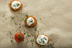 Fresh cream cheese spread. With dill on bake rolls and cherry tomato with copy space Royalty Free Stock Photos