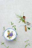 Fresh cream with herbs Stock Photos