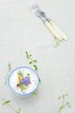 Fresh cream with herbs Stock Photo