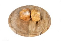 Fresh cream puffs on display stock images