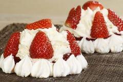 Fresh cream strawberry pavlova Royalty Free Stock Photos