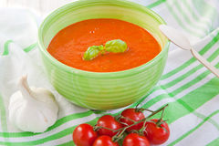 Fresh cream tomato soup with organic garlic Royalty Free Stock Images