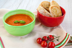 Fresh cream tomato soup with organic garlic and tomatoes Royalty Free Stock Image