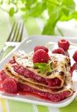Fresh crepe with raspberries Stock Photo