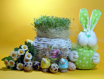 Fresh cress and rabbit and easter eggs Stock Photography