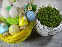 Fresh cress and rabbit and easter eggs Royalty Free Stock Photo