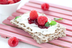 Fresh crispbread with quark Royalty Free Stock Image