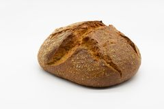 Fresh crispy bread from the baker. On a white background for easy clipping royalty free stock photography