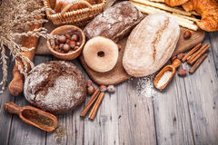 Fresh crispy breads baking of loaf and Royalty Free Stock Photo