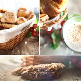 Fresh, crispy buns and croissants in a wicker basket and frothy. Cappuccino Royalty Free Stock Photos