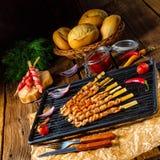 Fresh and crispy rustic pork belly grill sticks Stock Photos