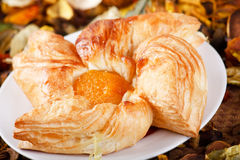 Fresh croissant. On the plate Stock Image