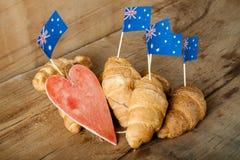 Fresh croissant and australian flag Royalty Free Stock Photo