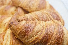 Fresh croissant breads closeup Royalty Free Stock Photo