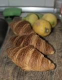 Fresh croissant breads closeup Royalty Free Stock Photography