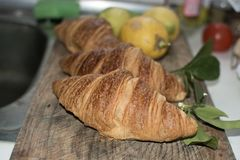 Fresh croissant breads closeup Royalty Free Stock Image