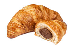Fresh Croissant with chocolate filling Stock Images