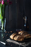 Fresh croissant with chocolate glaze on breakfast Royalty Free Stock Photo