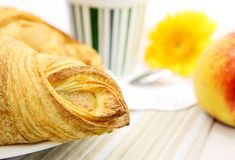 Fresh croissant closeup Stock Photos