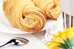 Fresh croissant closeup Stock Photography