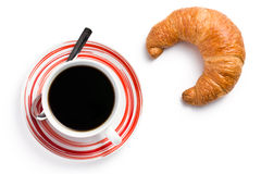 Fresh croissant with coffee Stock Photos
