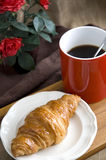 Fresh croissant and coffee for breakfast Stock Photography