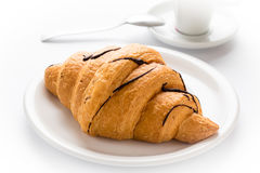 Fresh croissant and coffee Royalty Free Stock Photography