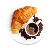 Fresh croissant with coffee Royalty Free Stock Photo