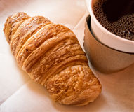 Fresh Croissant and Coffee Stock Image