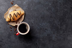 Fresh croissant and coffee Stock Photo