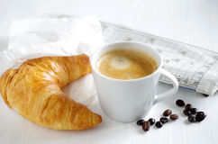 Fresh Croissant and cup of coffee Royalty Free Stock Photo
