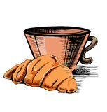Fresh croissant and cup Royalty Free Stock Photos