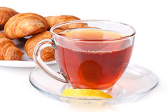 Fresh croissant and cup of tea Royalty Free Stock Photo