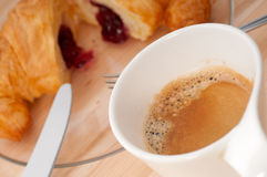 Fresh croissant french brioche and coffee Stock Images
