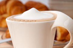 Fresh croissant french brioche and coffee Royalty Free Stock Photo
