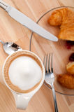 Fresh croissant french brioche and coffee Royalty Free Stock Photography