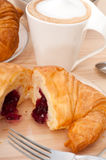 Fresh croissant french brioche and coffee Royalty Free Stock Photos