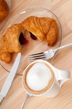 Fresh croissant french brioche and coffee Royalty Free Stock Image