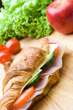 Fresh croissant with ham, cheese and salad Royalty Free Stock Image