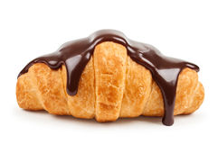 Fresh croissant with hot chocolate Stock Photo