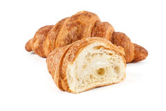 Fresh croissant isolated on white background Royalty Free Stock Images