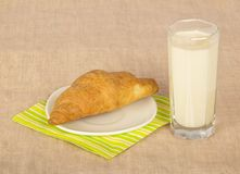 Fresh croissant on napkin and glass milk Royalty Free Stock Image