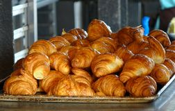 Fresh Croissant Pastry on a Tray Stock Photo