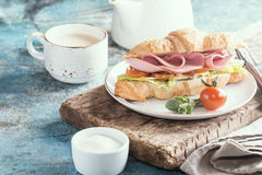 Fresh croissant sandwich Royalty Free Stock Images