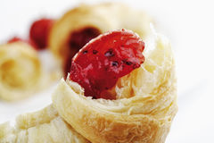 Fresh croissant with strawberry jam Royalty Free Stock Photography