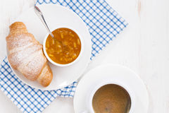 Fresh Croissant With Orange Jam And Coffee, Top View Royalty Free Stock Photo