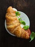 Fresh Croissant wtih Caprese Filling Royalty Free Stock Image